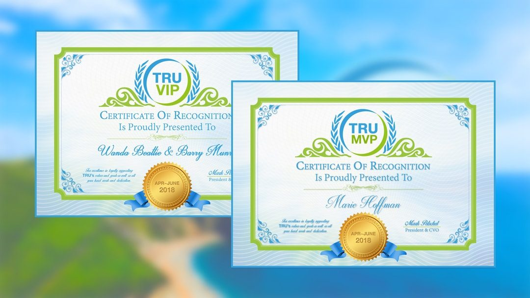 TRUVIP & TRUMVP Winners For April-June 2018